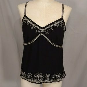 Black Silk Camisole Top Ann Taylor Quality Gold &B